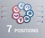 Les cercles diagram, infographics de calibre d'éléments 7 positions illustration stock