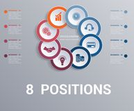 Les cercles diagram, infographics de calibre d'éléments 8 positions illustration stock