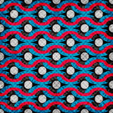 Les cercles et les lignes psychédéliques colorés modèle géométrique sans couture dirigent l'effet de grunge d'illustration Photographie stock