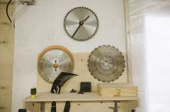 Les cercles pour la circulaire ont vu dans l'atelier photographie stock libre de droits