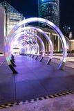 Les cercles, tunnel, amusement de nuit, ont illuminé différentes couleurs, bande de cotai de Macao, architecture Photo stock