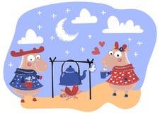 Les CERFS COMMUNS AIMENT Valentine Day Cartoon Animal Set illustration de vecteur