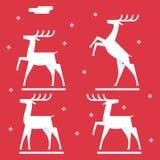 Les cerfs communs blancs silhouettent le symbole de nouvelle année d'icône de logo Photo libre de droits