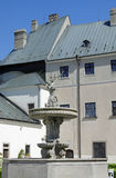 Les cerfs communs dans la cour du château Cerveny Kamen, Slovaquie Photo libre de droits