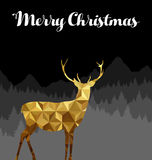 Les cerfs communs de Joyeux Noël silhouettent la basse poly carte d'or Photos stock