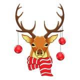 Les cerfs communs de portrait se dirigent dans l'écharpe et des jouets de Noël Cheracter de croquis Illustration de Vecteur