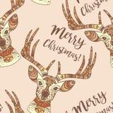 Les cerfs communs font face au modèle sans couture de Joyeux Noël Photos libres de droits