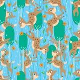 Les cerfs communs relient le modèle sans couture de pluie Images stock