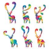 Les cerfs communs silhouettent l'ensemble coloré de coupe illustration de vecteur