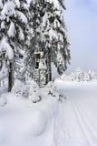 Les cerfs communs tiennent - support d'arbre - la tour de surveillance en montagnes Images libres de droits