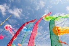 Les cerfs-volants artistiques, drapeaux, dépouille le flottement dans le ciel Image libre de droits