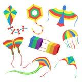Les cerfs-volants colorés ont placé l'illustration de vecteur sur le fond blanc Images libres de droits