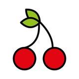 les cerises de fruit de fesh ont isolé la conception d'icône illustration de vecteur