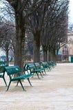 Les chaises vertes en métal dans le jardin en hiver assaisonnent Image libre de droits
