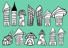 Les Chambres et l'icône de bande dessinée de bâtiments dirigent l'illustration, maison tirée par la main en noir et blanc illustration stock