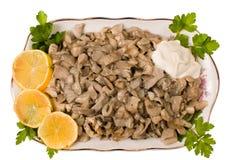 Les champignons de couche préparés. Images libres de droits