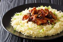 Les champignons de shiitaké frits délicieux avec l'ail et les graines de sésame ont servi avec le plan rapproché de riz d'un plat images stock