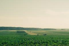 Les champs éloignés avec des tracteurs dans le rétro appareil-photo de film filtrent images libres de droits