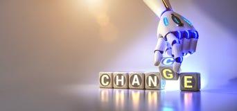 Les changements de main de robot de cyborg textotent le cube du changement ? l'occasion - concept d'AI illustration de vecteur