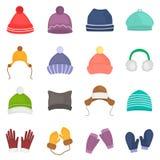 Les chapeaux d'hiver et les icônes de couleur de gants ont placé pour le Web et la conception mobile Photos libres de droits