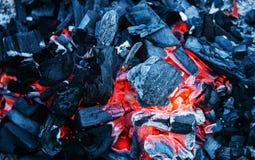 Les charbons de bois d'un rouge ardent préparés pour un barbecue, se ferment  image libre de droits