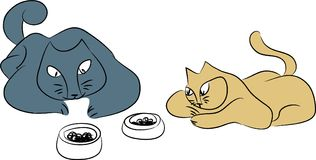 Les chats attendent un repas illustration libre de droits