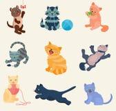 Les chats dirigent le jeu différent de chaton de minou de chats de collection réglée dans l'illustration defferent de caractère d Photo libre de droits