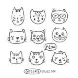 Les chats drôles d'ensemble de griffonnage fait face à la collection illustration stock