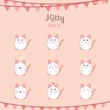Les chats drôles mignons ont placé de diverses émotions Image stock