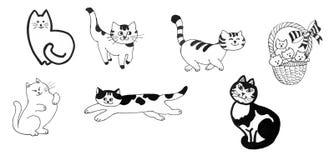 Les chats et les chatons noirs et blancs ont placé l'illustration tirée par la main d'encre Images libres de droits