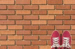 Les chaussures colorées ont placé sur le fond de brique avec l'espace de copie Vue supérieure Images stock