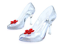 Les chaussures des femmes en cristal avec de hauts talons image libre de droits