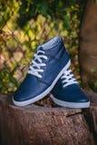 Les chaussures des hommes, espadrilles sur la nature Photographie stock