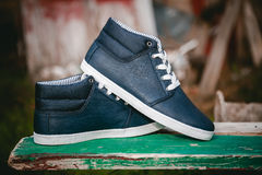 Les chaussures des hommes, espadrilles sur la nature Images stock