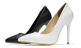 Les chaussures stylets de talon haut de femme ont isolé le blanc noir photographie stock