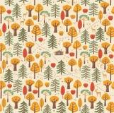 Les chemins, traces des animaux, buissons, baies, feuilles composent un beau modèle de forêt d'automne Configuration sans joint Photo libre de droits