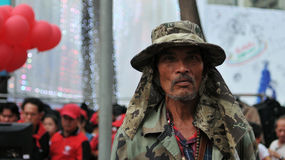 Les chemises rouges protestent à Bangkok central Photo stock