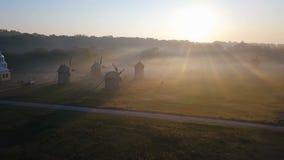 Les chevaux frôlent dans une clairière avec le brouillard et les moulins scène romantique rurale aube et humeur endroits d'eco de banque de vidéos