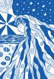 Les cheveux et la mer de fille d'imagination aménagent la page en parc de coloration illustration de vecteur
