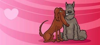 Les chiens couplent dans la carte de valentine d'amour Image libre de droits