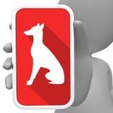 Les chiens en ligne signifie le téléphone portable et le rendu 3d canin illustration de vecteur