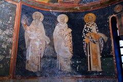Les chiffres d'évêque se ferment sur le mur d'abside dans l'église de Kariye dedans Photo libre de droits