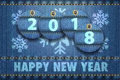 les chiffres de 2016 ans et les salutations de bonne année sur des blues-jean soutiennent illustration de vecteur