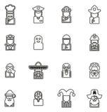 Les chiffres historiques d'icônes d'avatar ont placé 1 ligne mince ensemble d'illustration de vecteur illustration de vecteur