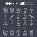 Les chimistes de Biohazard dans le laboratoire de chimie amincissent ensemble de concept d'illustration au trait Personnes de la  illustration de vecteur