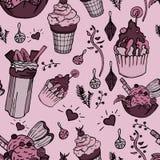 Les choses délicieuses ont répété sur le papier avec des décorations de crème glacée et de sapin  illustration libre de droits