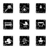 Les choses pour des icônes de bébé ont placé, style grunge Image stock