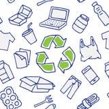Les choses recyclables dirigent le modèle sans couture tiré par la main illustration libre de droits