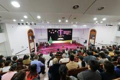 Les chrétiens chinois célèbrent le réveillon de Noël Photos libres de droits