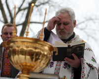 Les chrétiens orthodoxes célèbrent Epithany Photographie stock